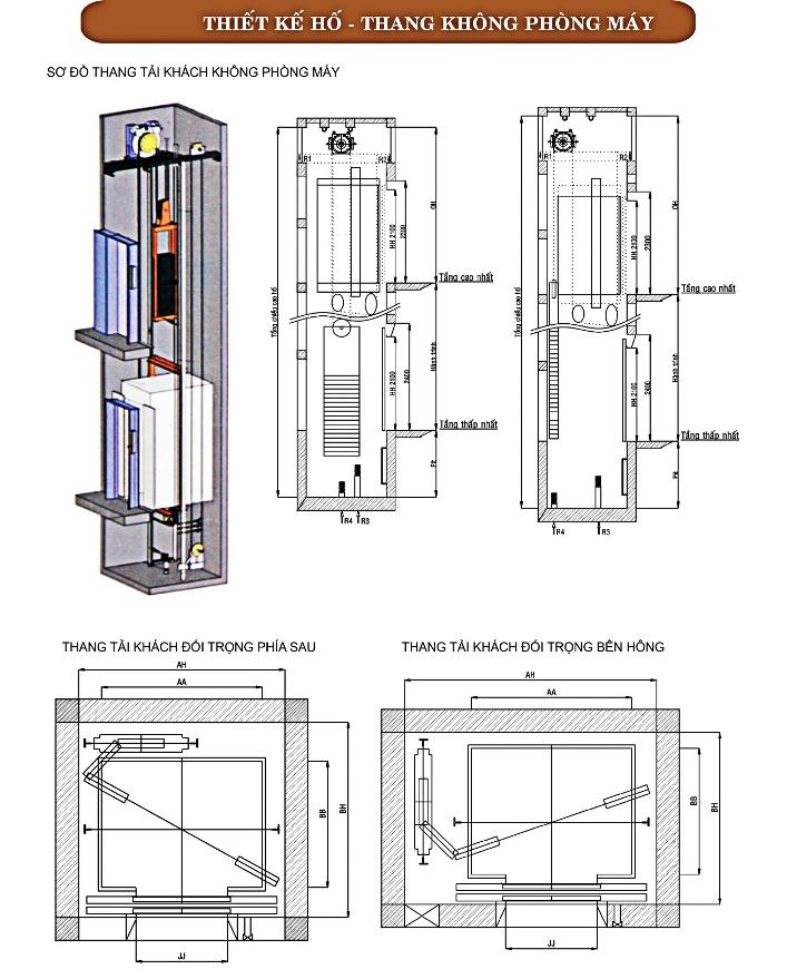 Thang máy gia đình - Thiết kế thang máy gia đình không phòng máy